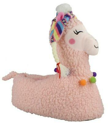 New Girls & Ladies Pink Novelty Llama Slippers Size 10/11 12/13 1/2 3/4 5/6 7/8