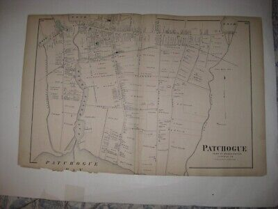 Superb Vintage Antique 1873 Patchogue Long Island New York Handcolored Map Fine