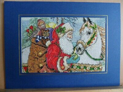 large completed cross stitch card - christmas santa and horse
