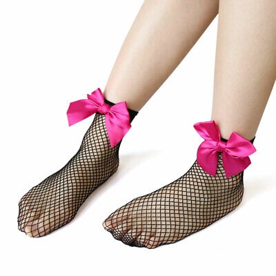3 Pairs Stretchy Ankle High Tights Mesh Sock Bowknot Decor Short Fishnet Socks