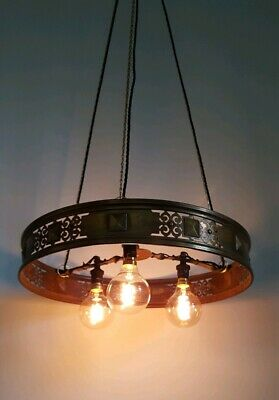 Antique brass chandelier, 3 light ceiling pendant with pierced strapwork design