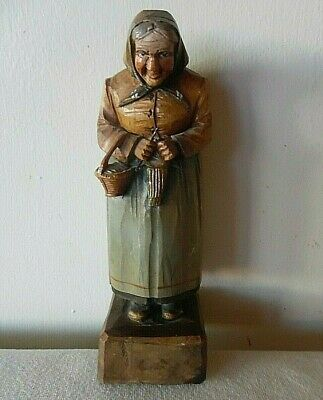 Vintage Hand Carved Wood Old Woman Holding Her Sewing Basket & Standing Knitting