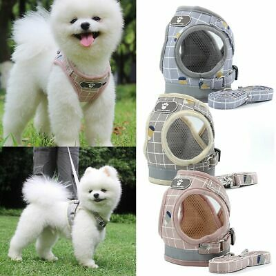 Small Medium Pet Dog Puppy Harness Breathable Mesh & Leash Set Vest Chest Strap