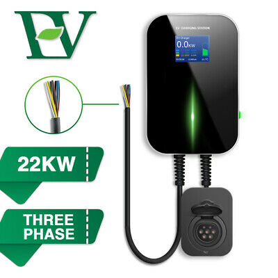 EV Charging Station 3 Phase Charger With Cable Box electric Car Wallbox 22KW