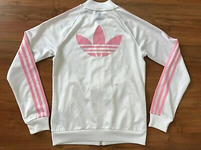 Girls WHITE PINK ADIDAS ORIGINALS TRACKSUIT TOP (age12-13) *L@@K*