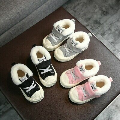 Toddler Infant Kids Baby Girls Boys Winter Solid Warm Flock Striped Casual Shoes