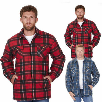 Men/'s Lumberjack Padded Quilted Check Warm Winter Work Shirt//Jacket Coat S-3XL