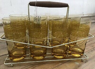 Rare Mid-Century Modern MCM Tumblers, Set Of 8, with Caddy & Wooden Handle, Gold
