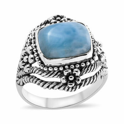 Sterling Silver Ring Cushion Square Larimar and Round White CZ Stones 6461