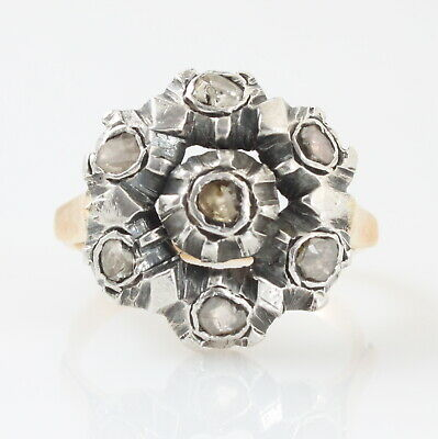Large Antique Georgian 18ct Gold & Silver Rose Cut Diamond Cluster Ring Size R½