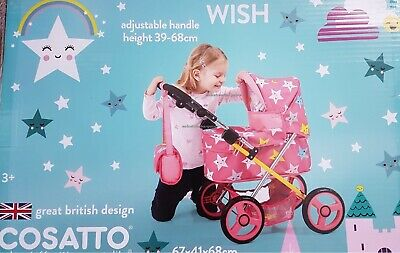 Kids Doll Pram Girls Toy Baby Pushchair Doll Folding Buggy Dolly Play Kids 68cm