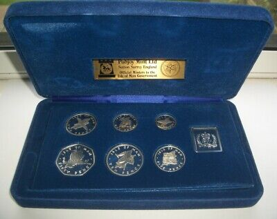 1977 ISLE OF MAN SILVER PROOF COIN SET IN OFFICIAL CASE - CoA - IoM MANX UNC 50p