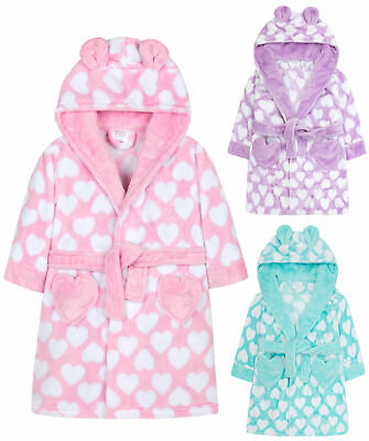 Girls Heart Print Dressing Gown New Fleece Hooded Pastel Robe Ages 7 - 13 Years