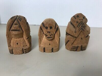 Vintage Coconut Husk Carved See Speak Hear No Evil Monkeys
