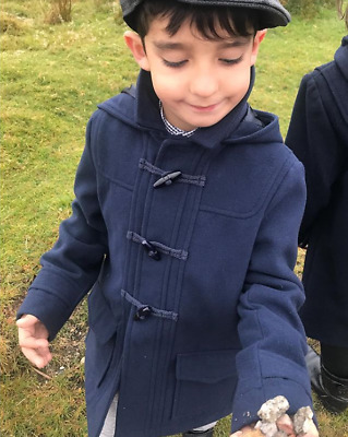 Boys Monsoon Navy Dylan Duffle School Coat Hooded Jacket 12 Mnths To 12 Years