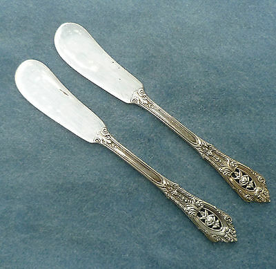"""Pair 1934 Rose Point Individual Butter Knife Wallace Solid Sterling Silver 5.5"""""""