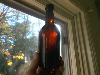 1860s WESTFORD GLASS WORKS CONN DEEP AMBER DRIPPY BLOB TOP BEER BOTTLE