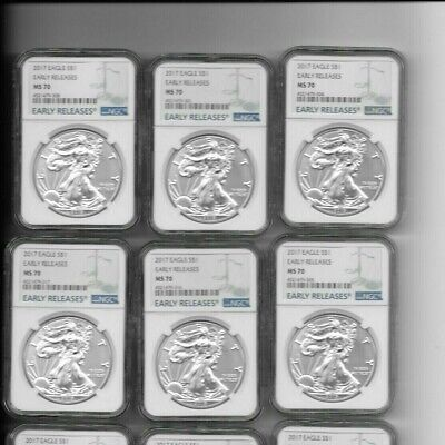 American Silver Eagle Lot of 3 2017, 2018, 2019 NGC MS70 Early Releases