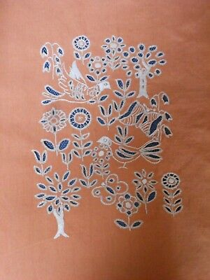 Antique French Cotton Ocre decorative embroidered FABRIC w/ BIRDS & TREES