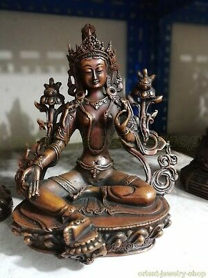 Ancient Chinese Bronze Buddha Old Temple God Statue Antique patina Bodhisattva