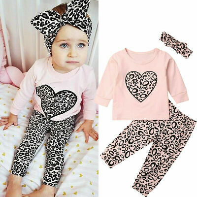 Toddler Kids Baby Girl Infant Clothes T-shirt Top Leopard Print Pants Outfits