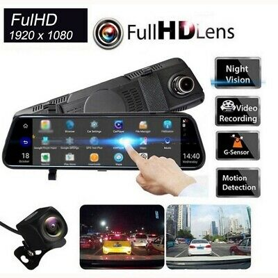 "1080P Full HD Rear View Mirror Video Recorder 10"" Car DVR Dual Lens Dash Cam"