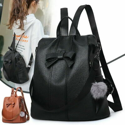 Women's Leather Backpack Anti-Theft Rucksack School Shoulder Bag Black/Brown AU