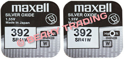 VALUE PACK! 2 x Genuine Maxell 392 SR41W Silver Oxide Watch Battery 1.55v