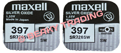 VALUE PACK! 2 x Genuine Maxell 397 SR726SW Silver Oxide Watch Battery 1.55v