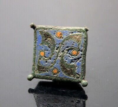 Romano-Celtic Bronze Enamelled Square Seal Box Lid (M802)
