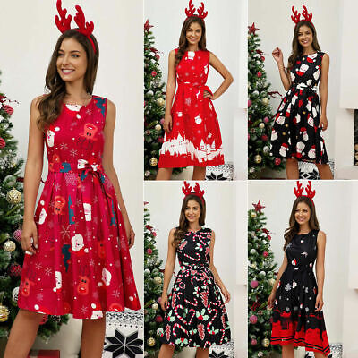 Women Dress Ladies Christmas Summer Sleeveless Casual Fashion A Line Dress