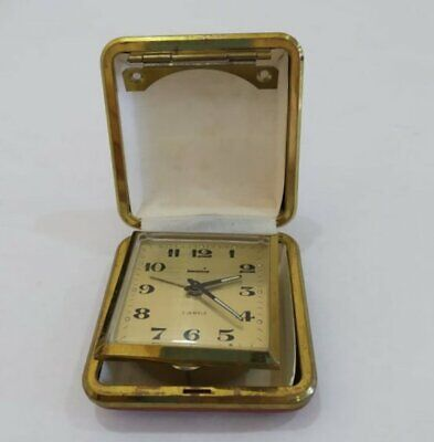 Vintage Swania 2 Jewels Travel Alarm Clock Made In Germany Case Red Face Gold 60