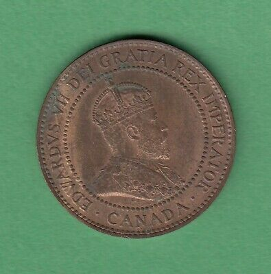 1908 Canadian Large One Cent Coin - MS-60 (Corrosion)