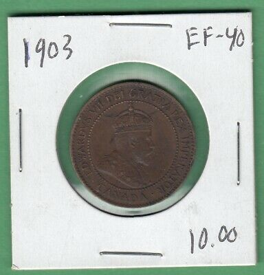 1903 Canadian Large One Cent Coin - EF-40