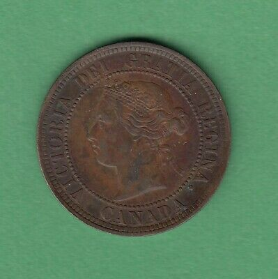 1886 Canadian Large One Cent Coin - Obverse 1 - VF-20