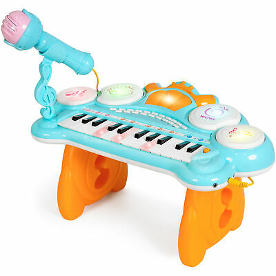 BCP 24-Key Kids Musical Electronic Keyboard w/ Drums, Microphone, MP3 - Blue
