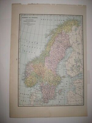 Superb Antique 1930 Norway Sweden Railroad Map Very Detailed Fine Rare Nr