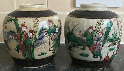 PAIR of SIGNED 4 ch mark antique CHINESE crackle glaze PROCESSION KITE flag JARS