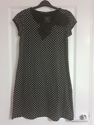 Next Monochrome Black White Polka Dot Spot Bow Trim Stretchy Cotton Shift Dress