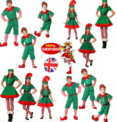 Kids Adult Christmas Elf Costume Fancy Dress Party Family Christmas Role Playing