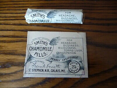 Antique Medicine Package Smiths Chamomile Pills Headache Constipation