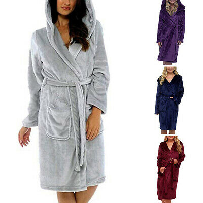 Women Winter Warm Nightwear Sleepwear Pajamas Dressing Gown Bath Robe Hooded NEW