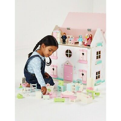 Kids 3 Stories Wooden Dolls House Traditional Doll's House With Accessories