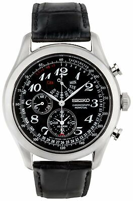 Seiko Men's Leather Strap Black Dial Day and Date Perpetual Chronograph Watch