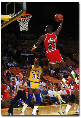 "MICHAEL JORDAN DUNKING ON MAGIC Fridge Magnet Size 2.5"" x 3.5"""
