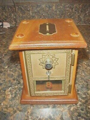 VTG 1950's US Post Office PO Box Brass Door Wood Coin Bank Box Combo Lock #8
