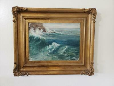 Original Signed Vintage Seascape Oil Painting Ocean Ornate Gesso Picture Frame