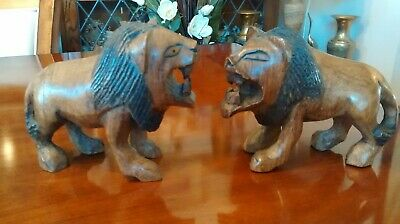 Vintage Pair of Hand Carved Wood Roaring Lions