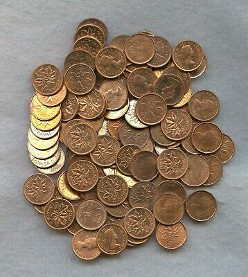 Canada  ~ 100 Mixed Date Small Cent Lot ~ Bu Red