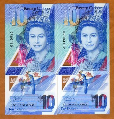 SET East Caribbean 2 x $10 (2019) P-New, Consecutive Pair Polymer QEII Gem UNC